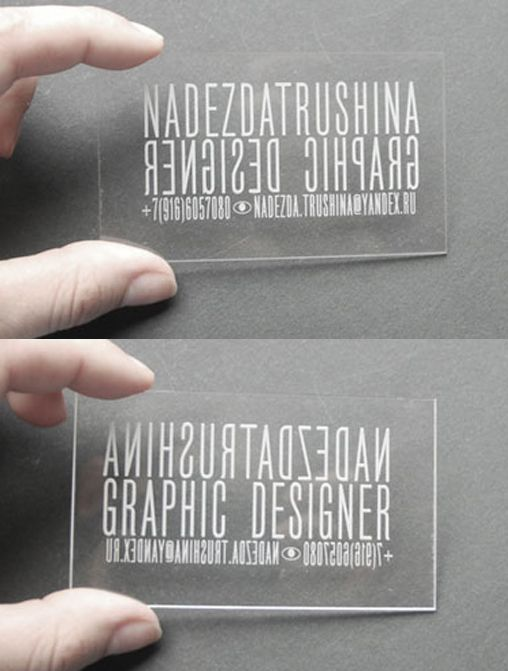 Perspex is a great alternative material to use for business cards as clever double sided transparent plastic laser cut business card for a graphic designer transparent business cardsplastic business cardscreative reheart Image collections