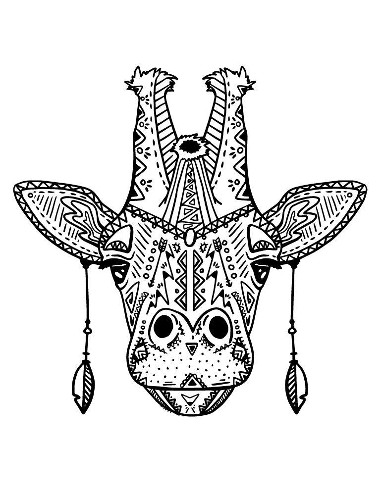 Coloriage magnifique tête girafe mode boho à imprimer | Coloriage, Coloriage animaux et A imprimer