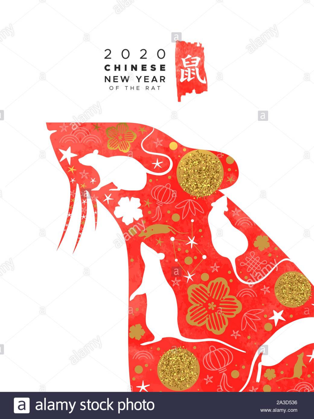 Chinese New Year 2020 greeting card of Chinese new