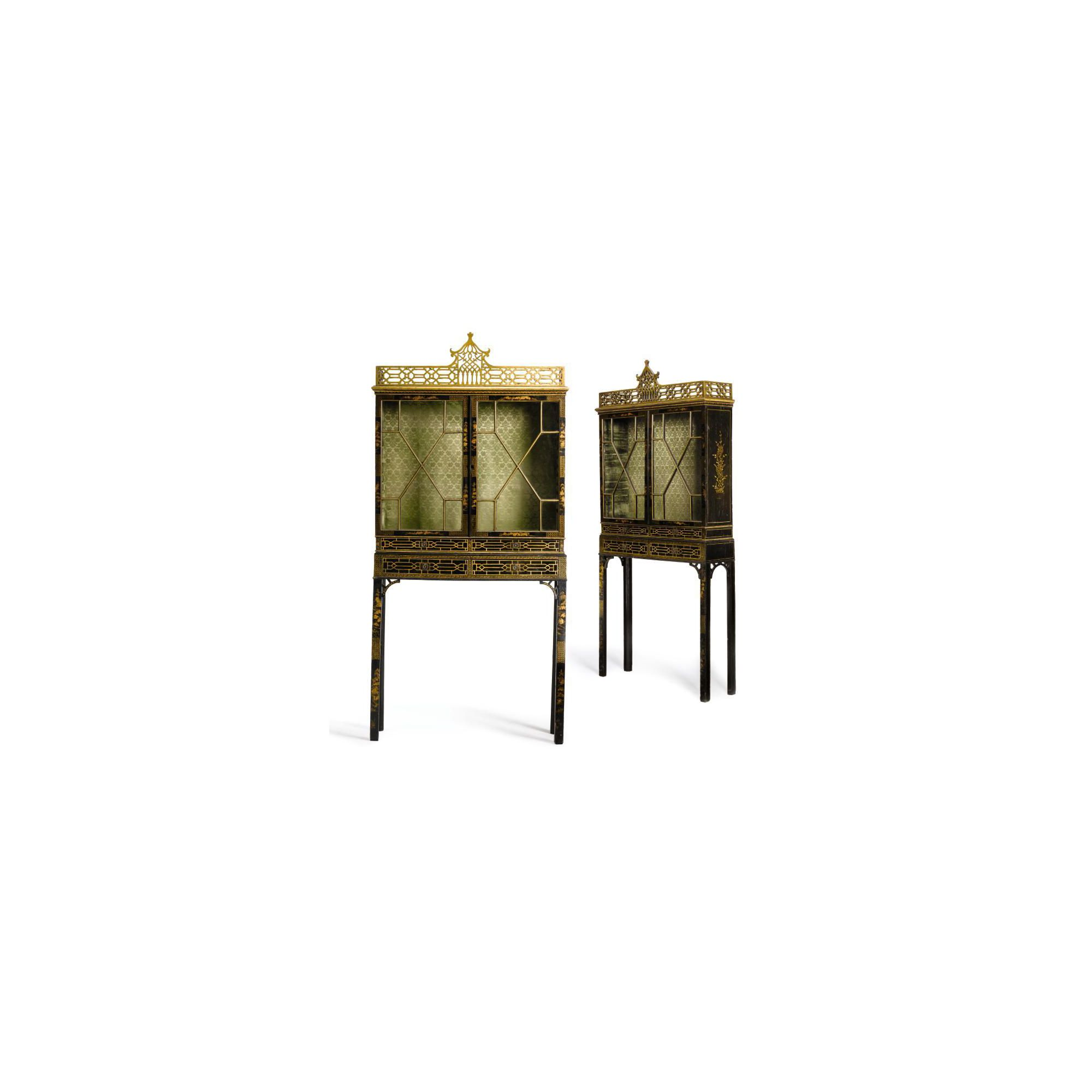 A Pair of George III Black Japanned and Chinoiserie cabinets on Stands<br>Circa 1760 | Lot | Sotheby's