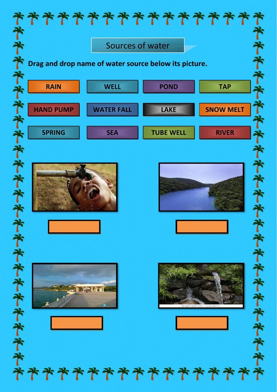 Sources Of Water Interactive Worksheet Online Activities Environmental Studies Online Workouts [ 1413 x 1000 Pixel ]