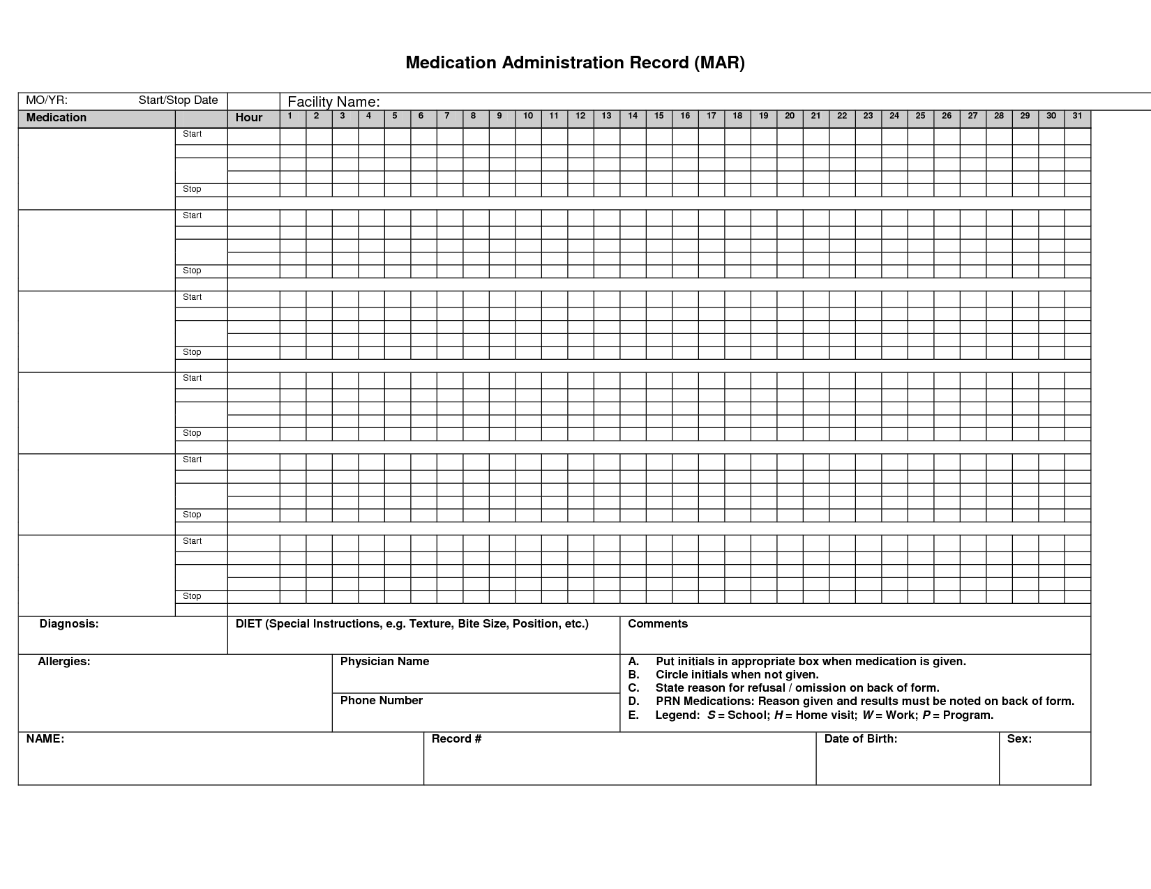 Printable Medication Administration Record Medication  X