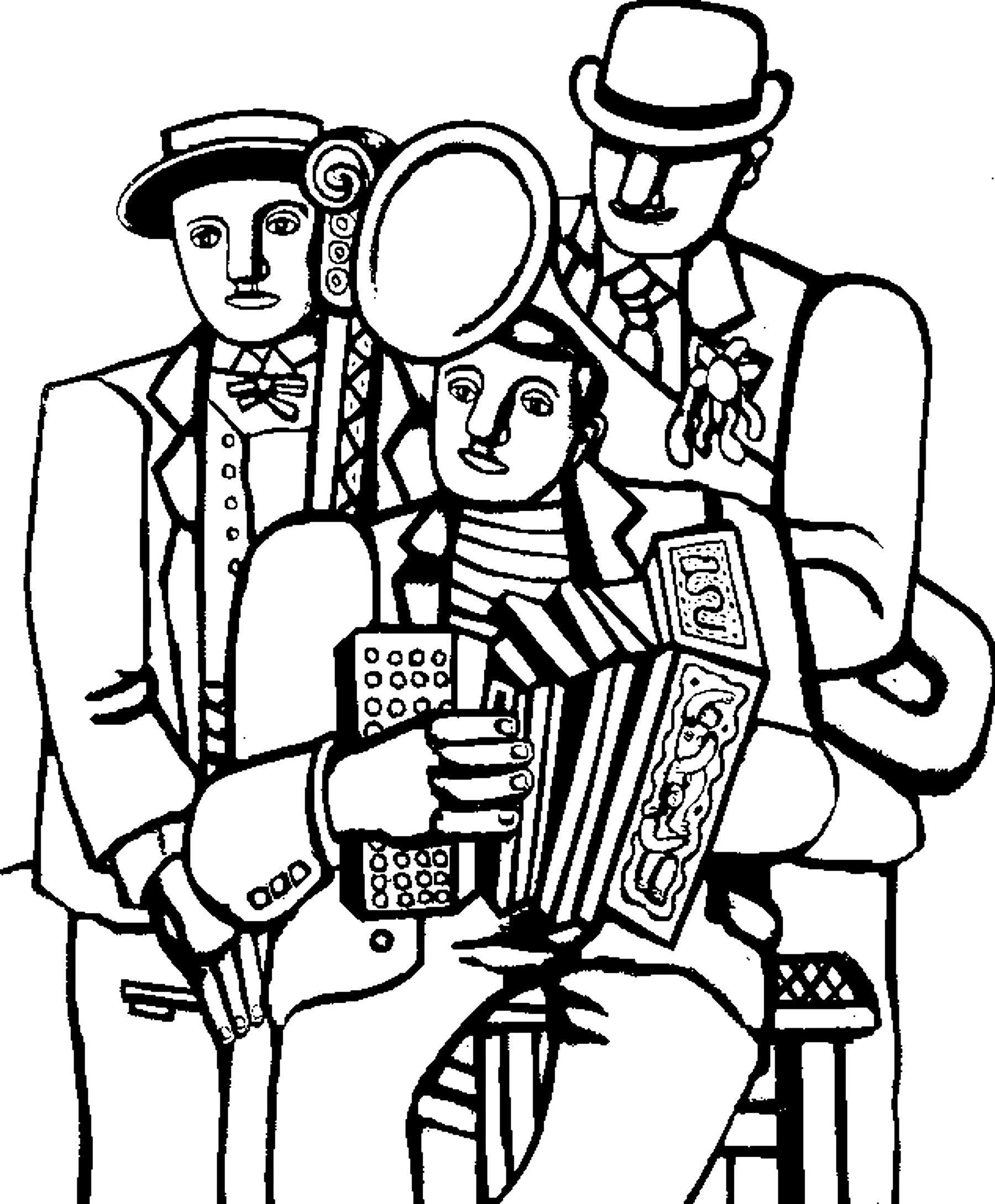 coloriage adulte fernand leger les trois musiciens a partir de la