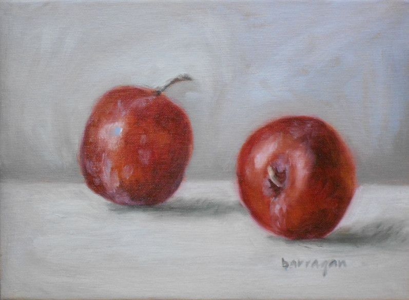 """Two Red Plums""  http://barraganstudio.blogspot.it/  http://www.etsy.com/shop/BarraganPaintings"
