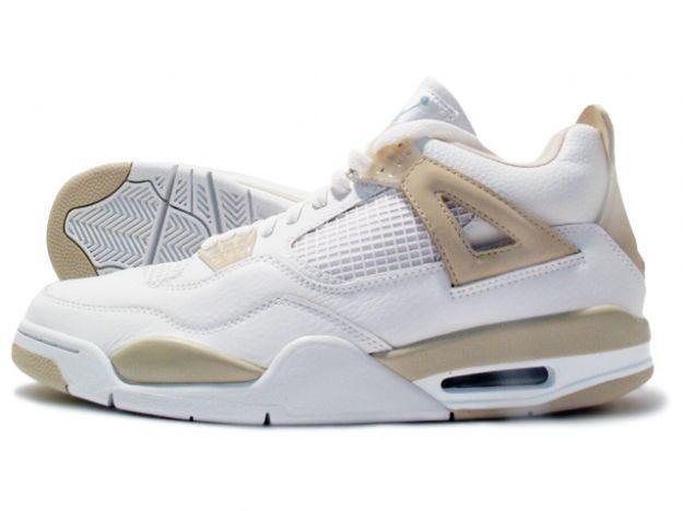 white and beige jordans