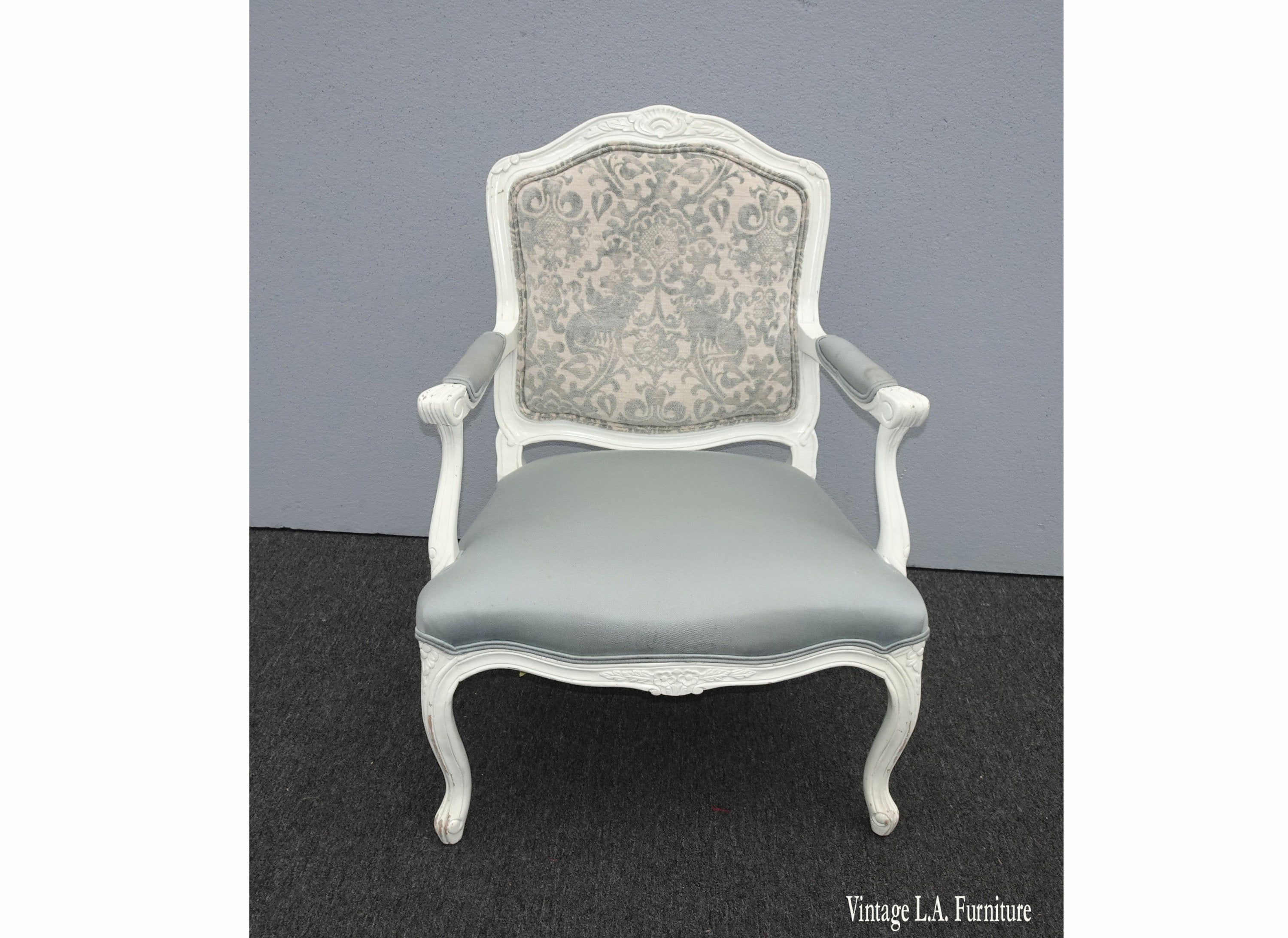 Best Vintage French Provincial White Baby Blue Accent Chair 400 x 300