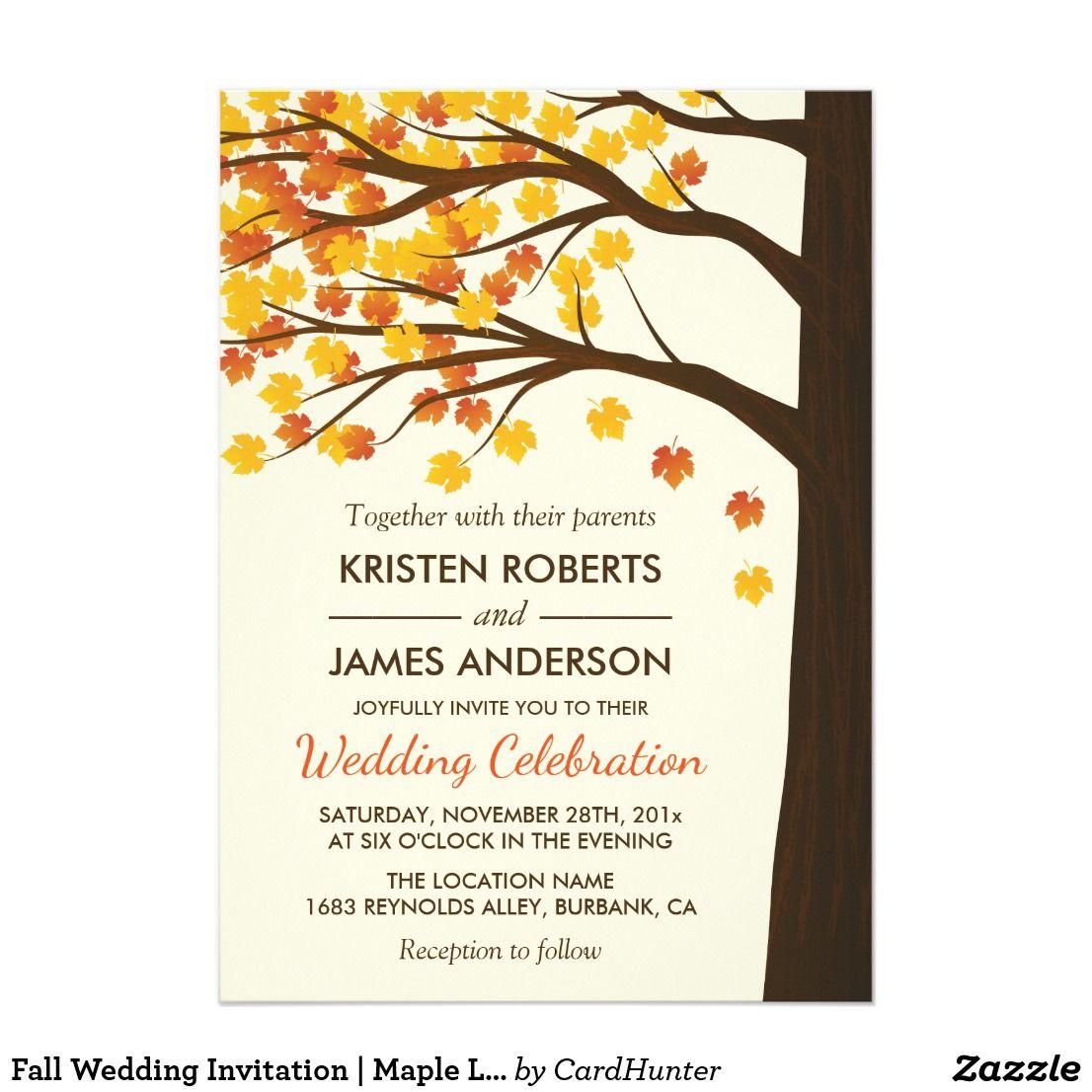 Fall Wedding Invitation | Maple Leaves Autumn Tree | Autumn trees ...