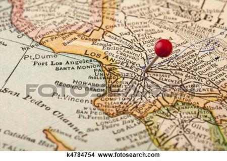 Los Angeles Kort Google Sogning Map Print Push Pin Art Map