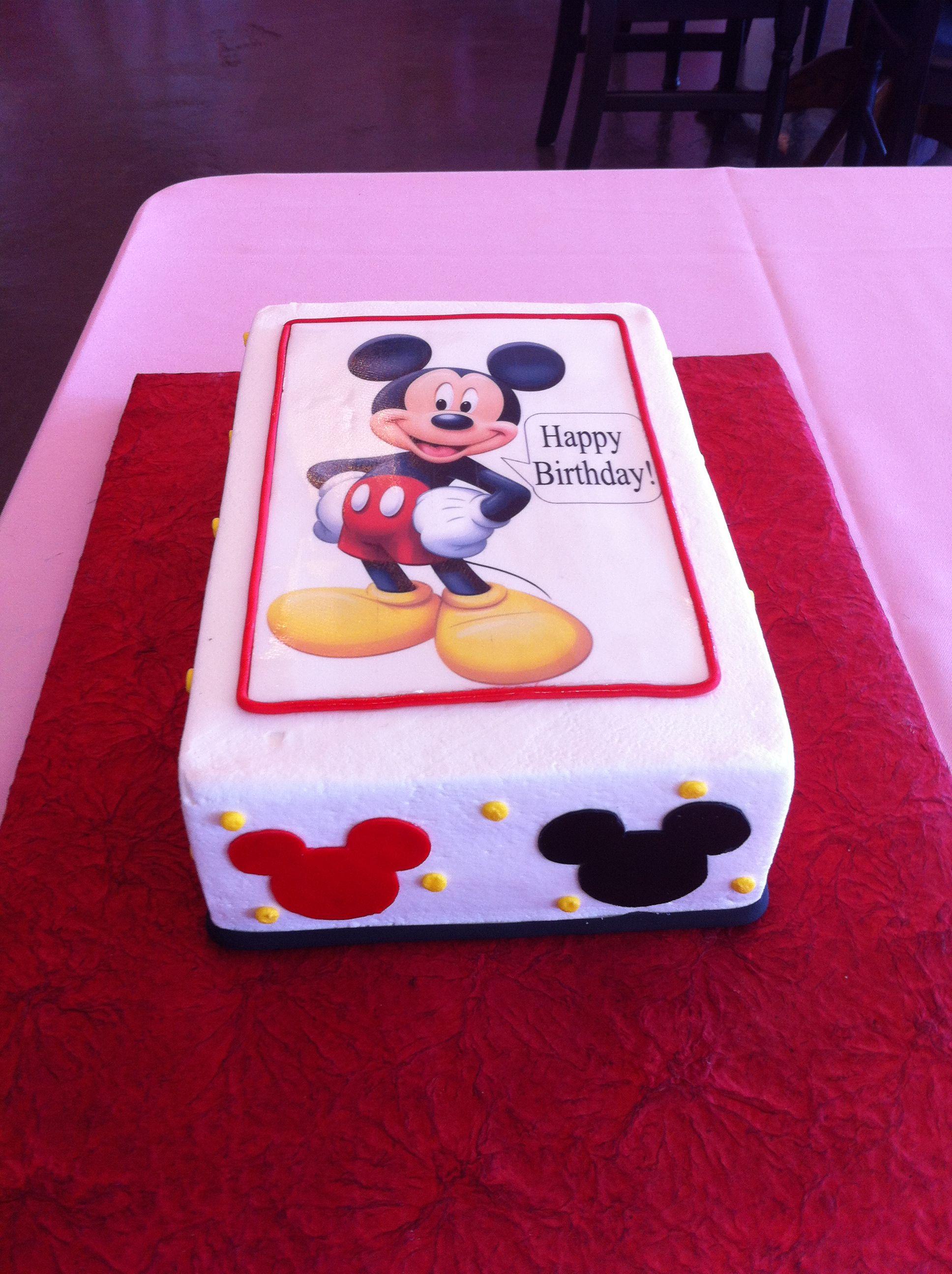 Mickey Mouse Cake Sheet Cake Birthday Cake Mickey Mouse Creme de
