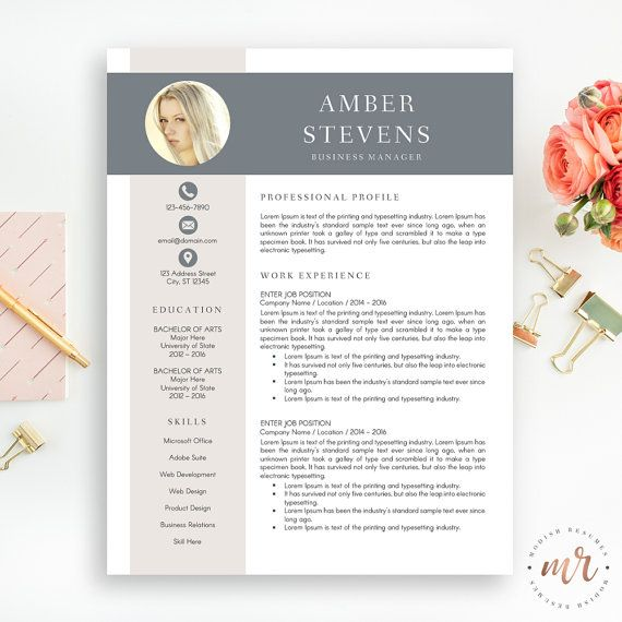 Creative Resume Template, CV Template for MS Word, Professional