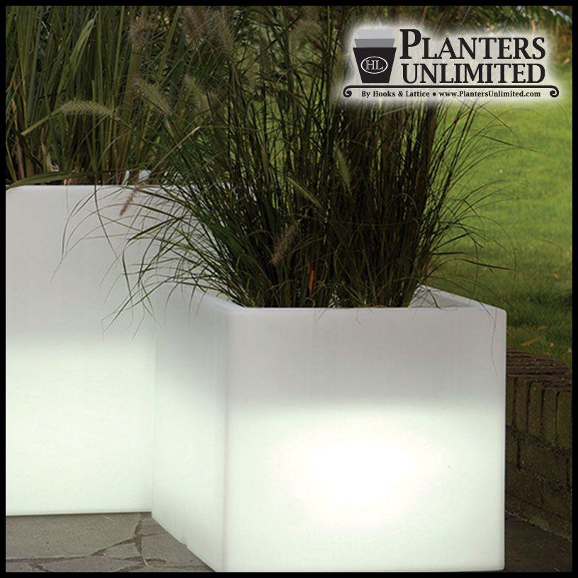 20 L X 20 W X 17 H Vinci Illuminated Cube Planter Indoor Outdoor Planter Planters Garden Boxes