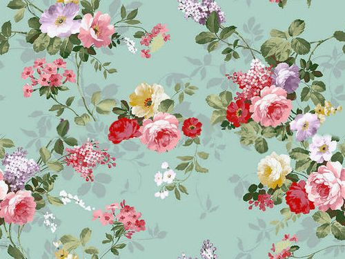 Vintage Floral Baby Blue Background