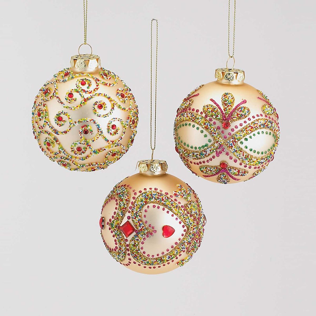 Beautiful new glass ornaments with jewels and candy color