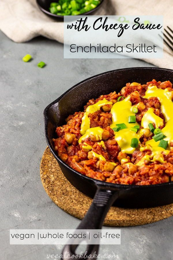 Enchilada Skillet with Cheese Sauce Easy and quick one-pot  vegan enchilada skillet recipe for your next dinner. Made with diced tomatoes and chillies and chickpeas for a seasonal hearty gluten-free dinner. oil-free, vegetarian, plant-based, whole foods |  Easy and quick one-pot  vegan enchilada ski...