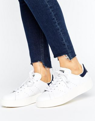 adidas Originals Bold Double Sole White And Black Stan Smith Trainers
