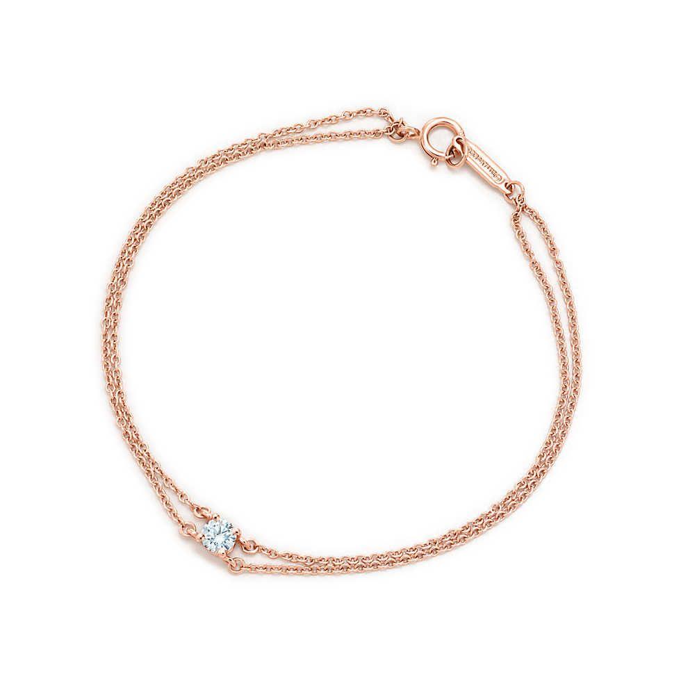 8657c4b7bff Tiffany solitaire diamond bracelet in 18k rose gold.