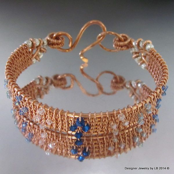 Stunning Hand Crafted Intricate Wire Weave Copper Bangle