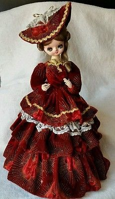 VINTAGE 19 DOLL BRADLEY JAPAN 1960's BIG EYES Victorian velvet cloth doll stand #dollvictoriandressstyles