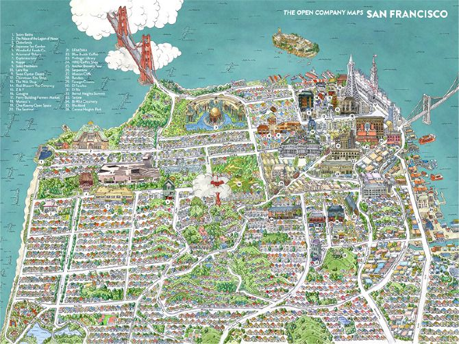 San Francisco water colour hand drawn map by Borgarmynd – San Francisco Travel Map