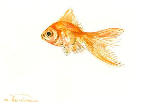Goldfish Feng Shui Watercolor Art ปลา