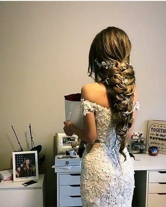 Extra Long Hair Vine Bridal Hair vine Crystal and Pearl hair vine Bridal halo Wedding Hair Vine Bridal Jewelry Boho Headpiece