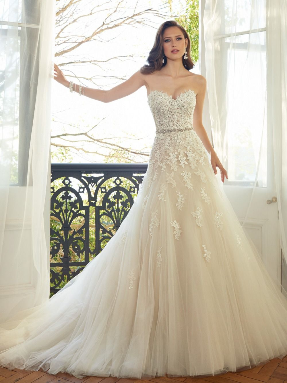 Sweetheart Light Champagne Lace Applique Wedding Dress | Lace ...