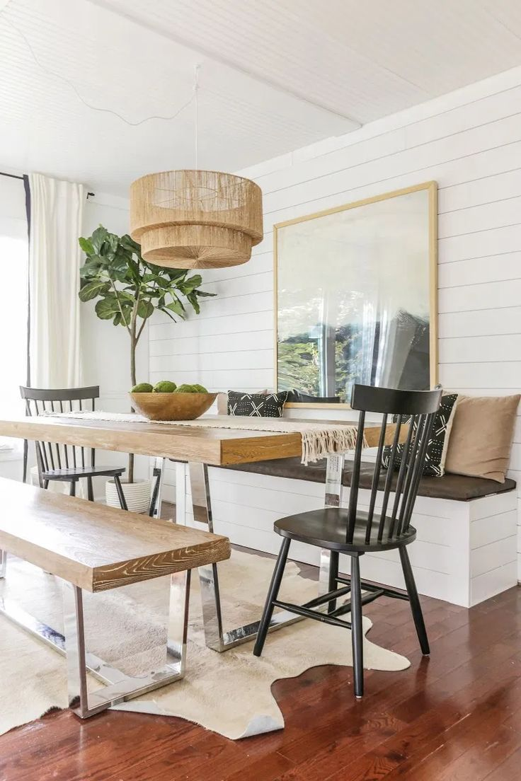 Reveal: Dining Room Office Combo with DIY Built In Storage Banquette