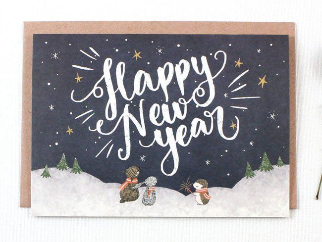 Holiday Card Picks Whimsy Whimsical Paper Crave Happy New Year Calligraphy Happy New Year Typography Holiday Design Card