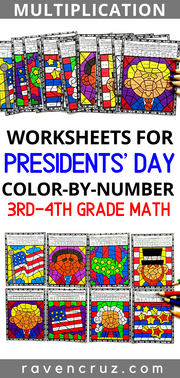 Presidents' Day Multiplication Color by Number Worksheets Celebrate Presidents' day this year with
