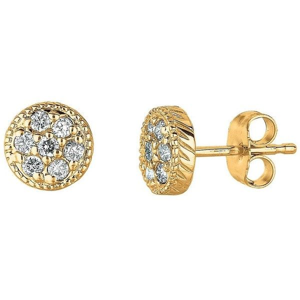 Morris & David Diamond Stud Earrings in 14 Kt. Yellow Gold ($475) ❤ liked on Polyvore featuring jewelry, earrings, gold jewellery, diamond earrings, gold diamond earrings, stud earring set and gold jewelry