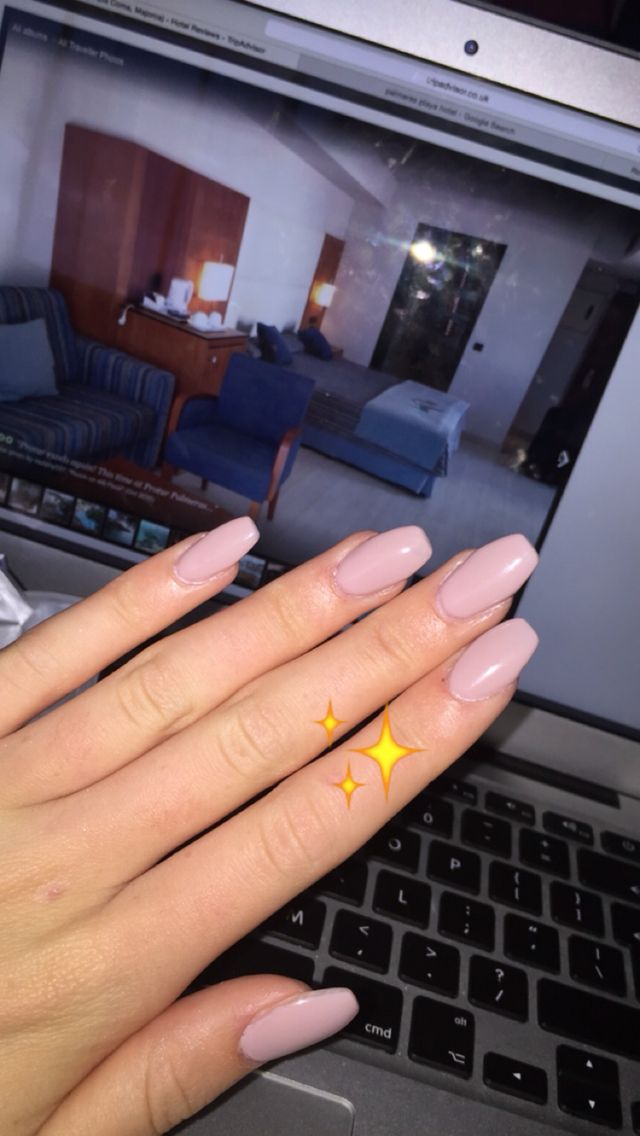 Coffin shaped acrylic nails with gel polish in latte☕ | Nails ...