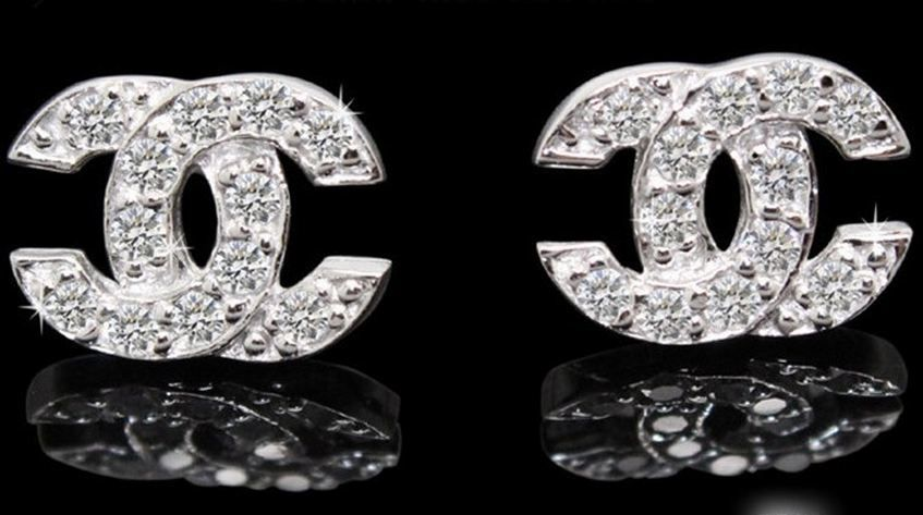 Coco Chanel 3 Earrings Ring Sterling Silver