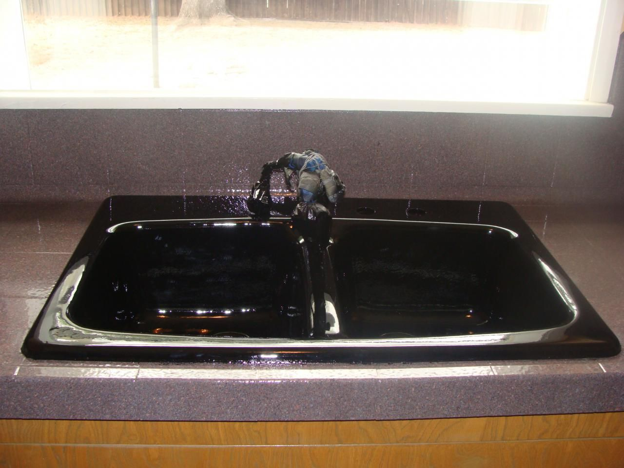 Pkb Reglazing Double Bowl Kitchen Sink Reglazed Black