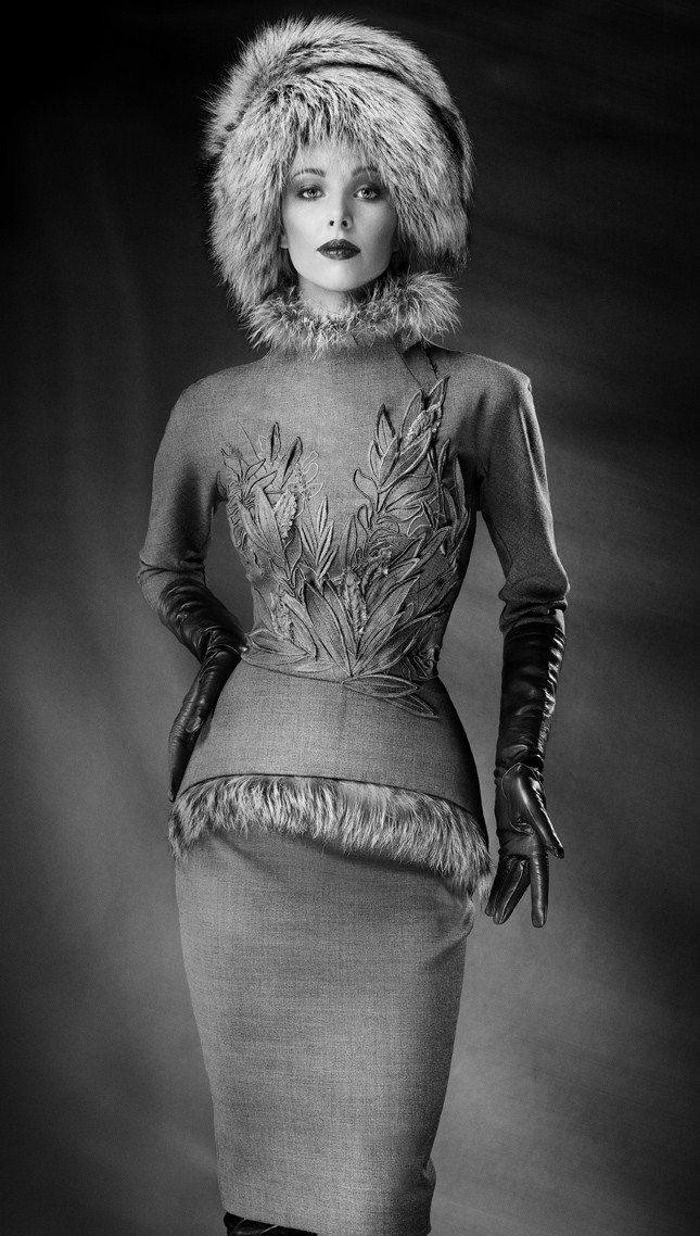 yulia yanina couture fw 2015 | Russian-style fur hat and a jacket with fur trim. Designer: Yulia ...