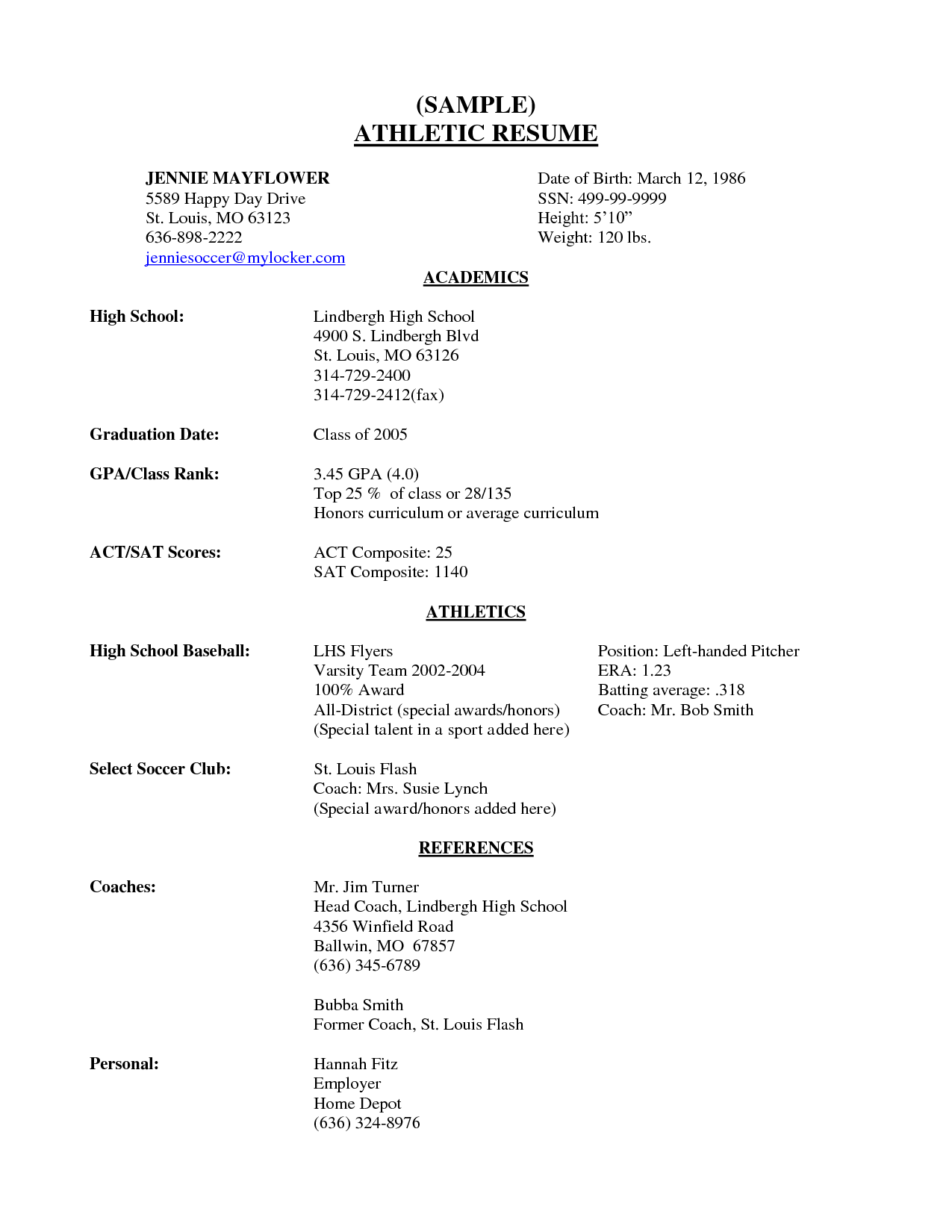 Sports Resume Samples For Colleges Lovely Sample