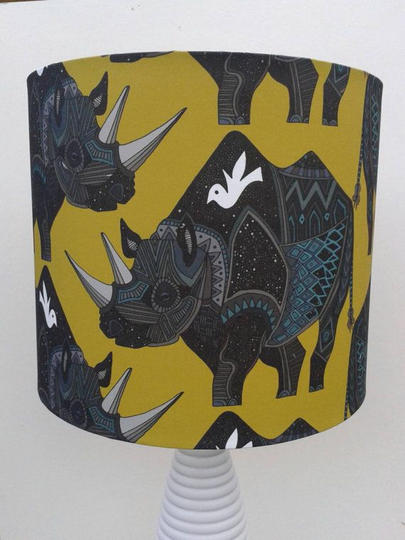 Rhino with Bird fabric covered Lampshade