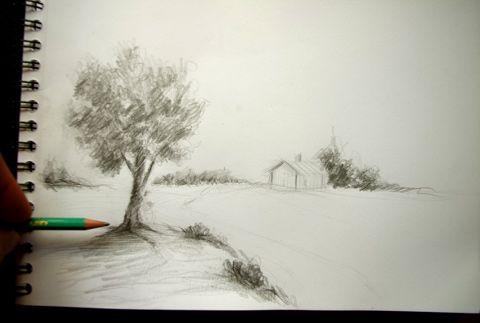 Exercice pour dessiner des buissons et un arbre rapidement - Dessiner un paysage ...