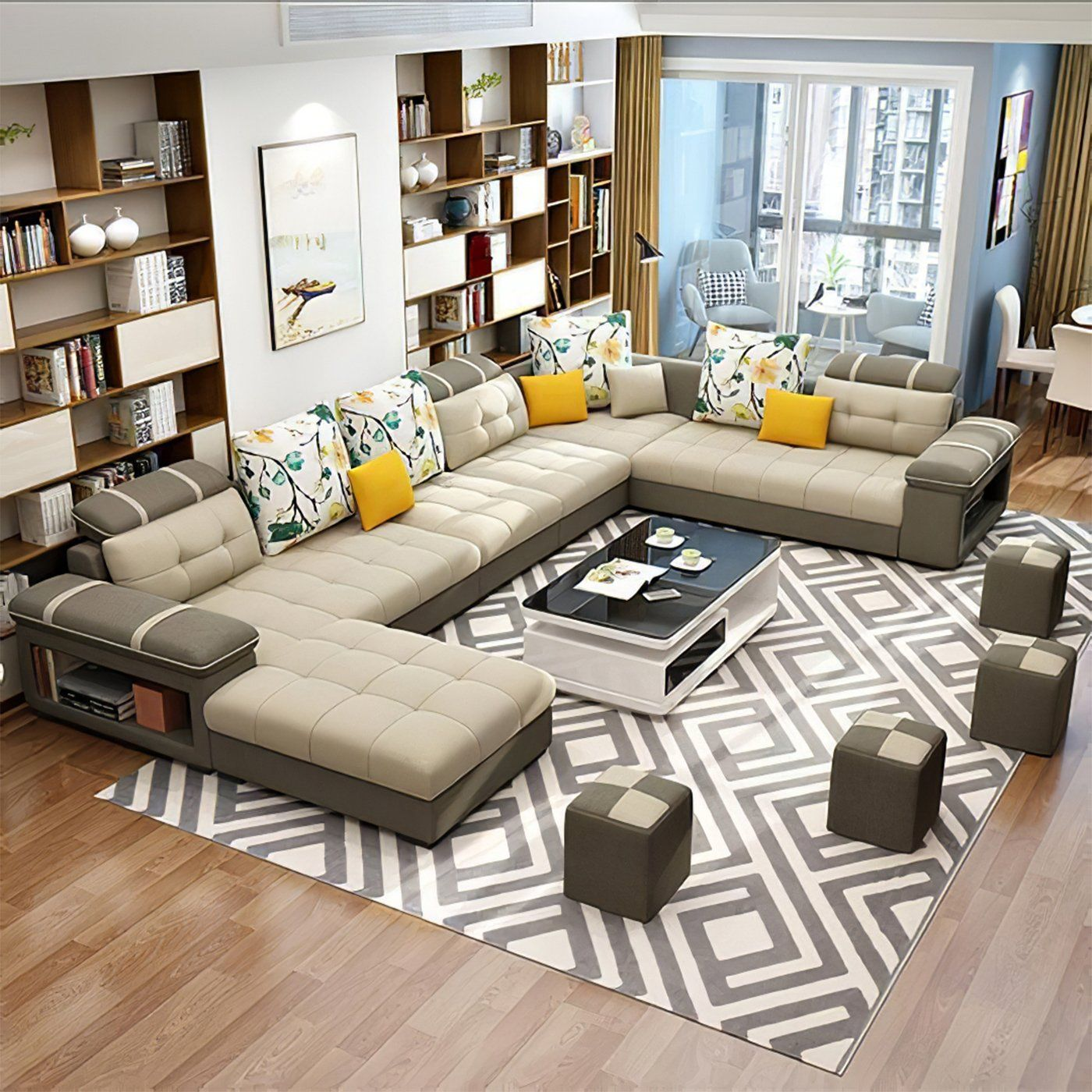 Photo of Selena Beige & Brown Modular Tufted Sectional – Beige & Brown / Bonded Leather