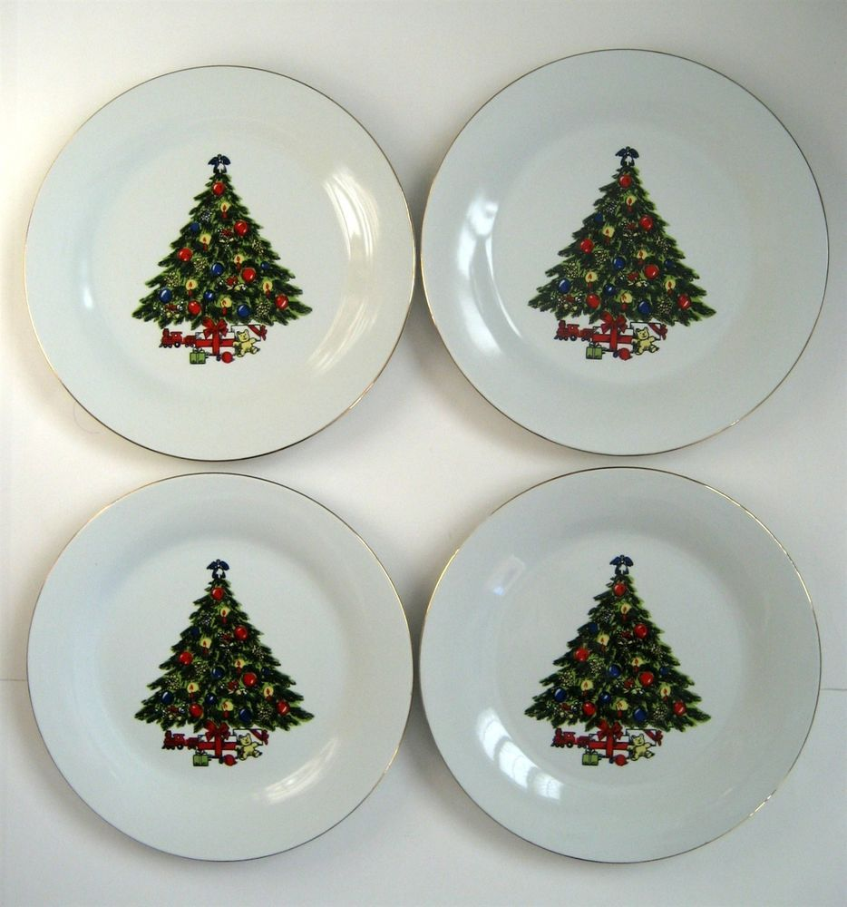 4 Mint 10 Dinner Plates Century Fine China Decorated Christmas Tree Gold Edge Centuryfinechina Christmas Plates Christmas Tree Decorations Plates