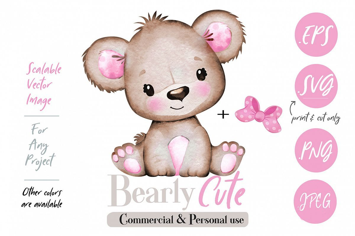 Girl Teddy Bear clip art, brown pink cute baby girl bear #babyteddybear