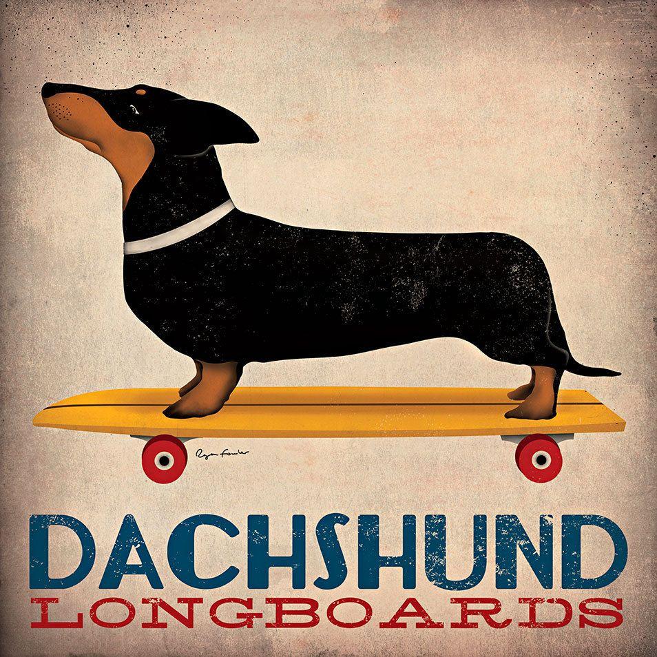 Dachshund Longboards Art Canvas Prints Dachshund