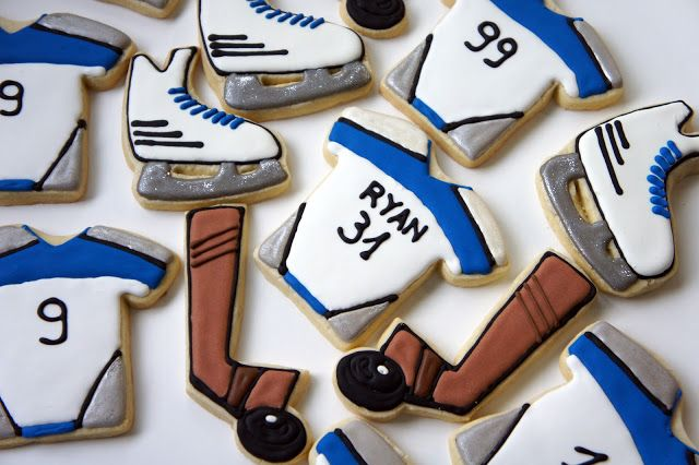 Custom Hockey Themed Jersey Ice Skate Hockey Stick And Puck Logo Hand Decorated Sugar Cookies By Ask Sugar Cookies Decorated Custom Cookies Sugar Cookies