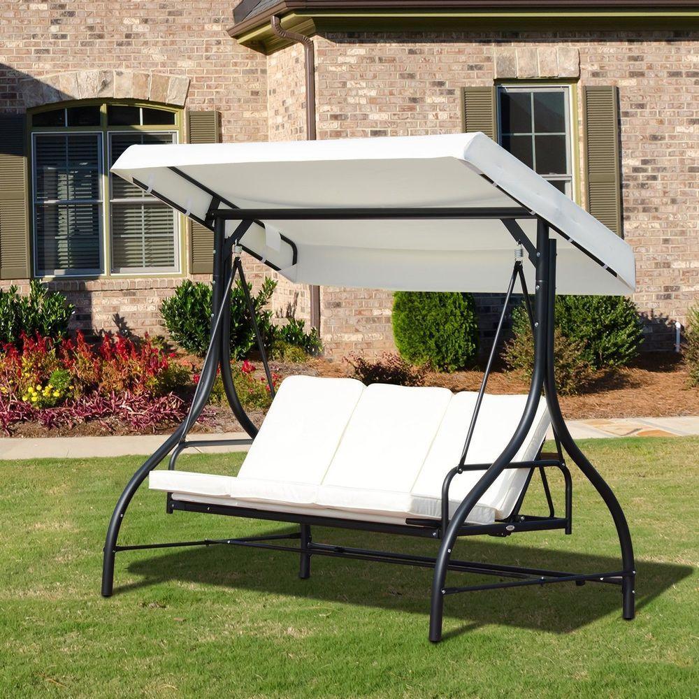 Garden Swing Chair 3 Seater Black Metal