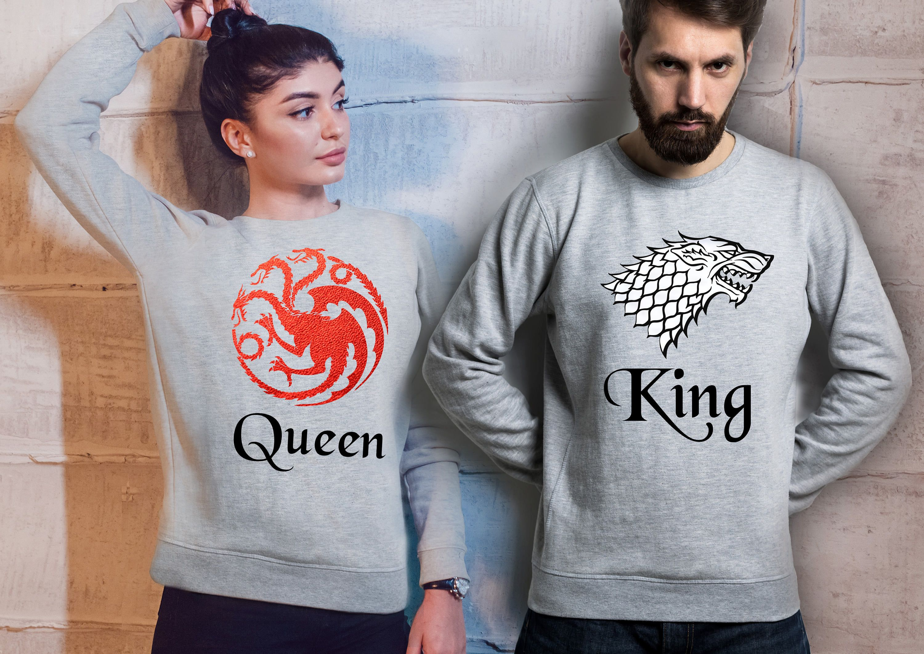 Targaryen and Stark king and Queen His and Her matching sport grey T-shirts set. yHLQGd