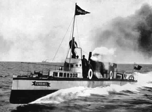 Charles Parsons's Turbina, 1895. The world's first steam turbine powered boat.