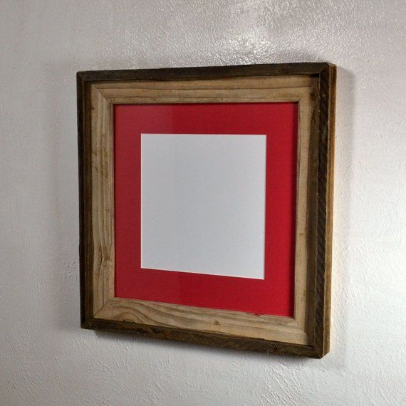 8x8 Red Mat In Decorative Reclaimed Wood Picture Frame Fits 8x8 10x10 8 5x11 Or 8x10 Reclaimed Wood Picture Frames Picture On Wood