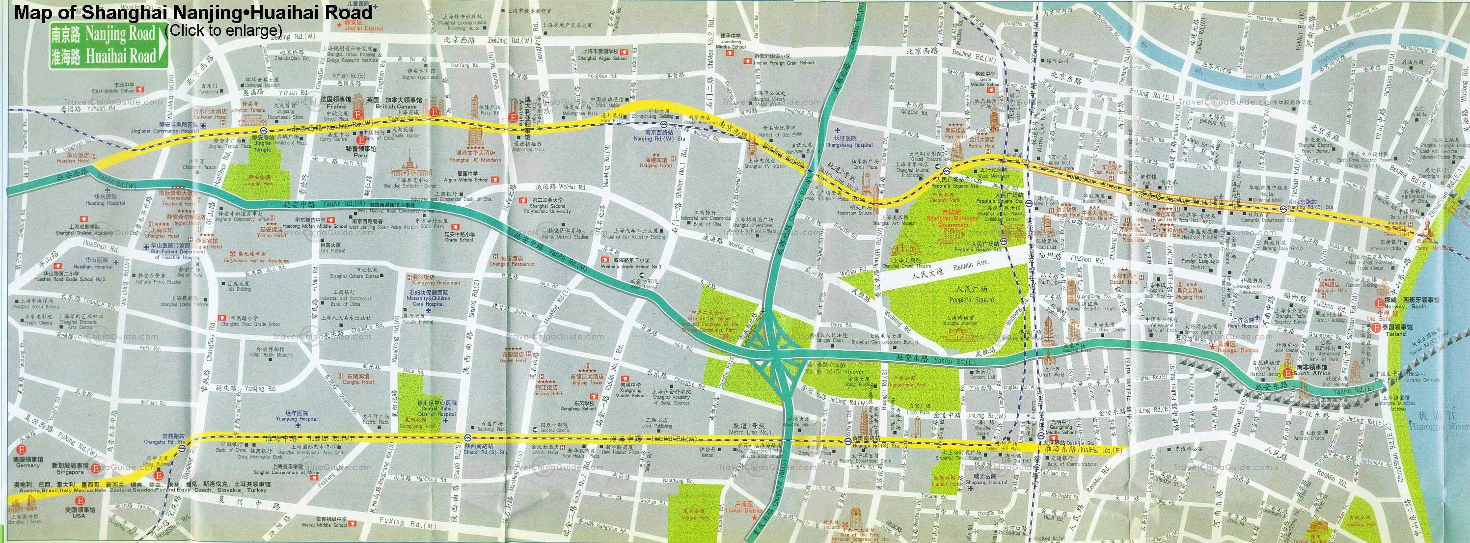 Shanghai nanjing road and huaihai road map China Map