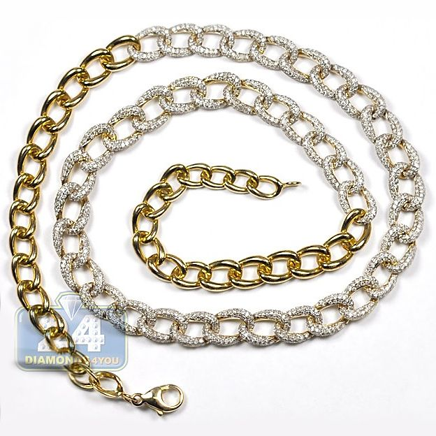 Womens 5.41 Carat Diamond Curb Link Design Chain Necklace 18 Inches 14K  Yellow Gold b3864b6f8f
