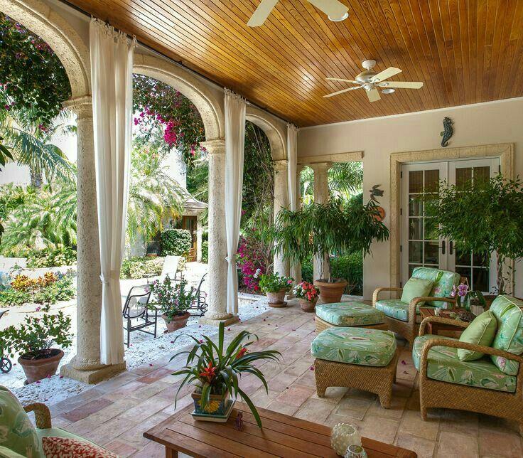 Brick Pavers And Coquina Lanai Decorating Outdoor Rooms