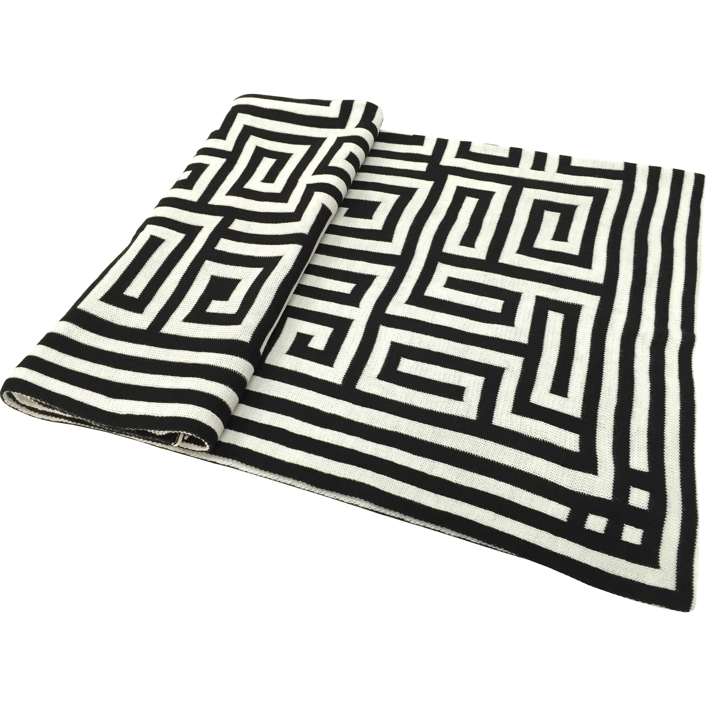 Acrylic Greek Key Black White Jacquard Throw 50x60 Acrylic Chevron Jacquard Throw A And B Home Greek Key Contemporary Blankets Blanket